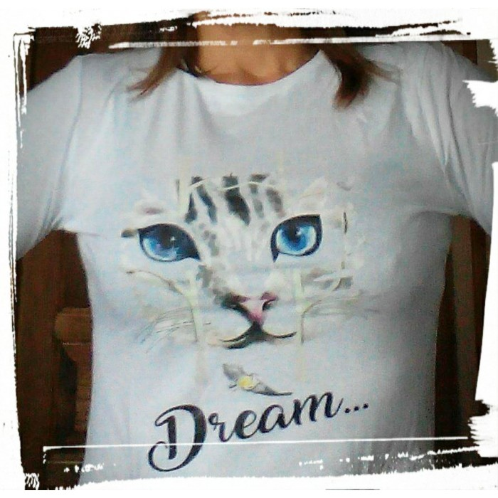 t shirt femme manches longues chat dream collection design. Black Bedroom Furniture Sets. Home Design Ideas