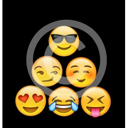 t-shirt noir emoji Design d'Oc